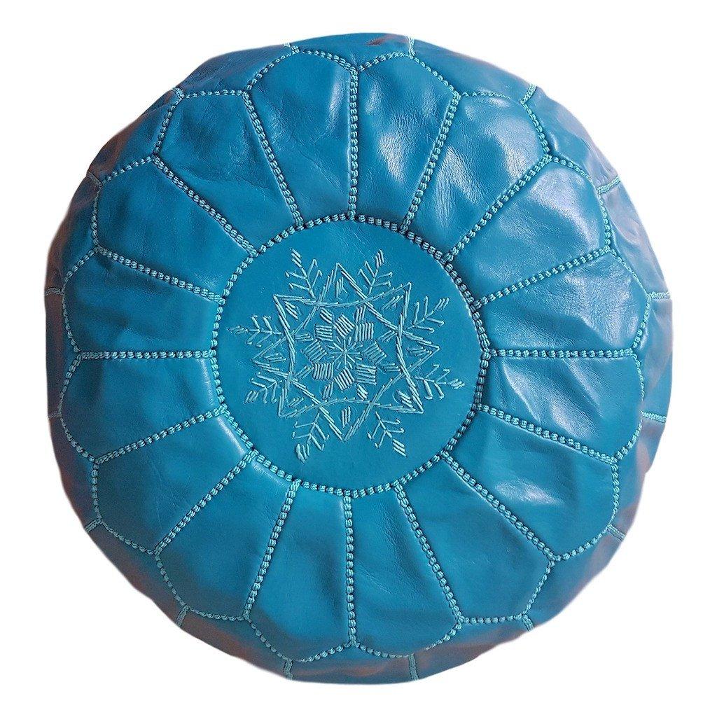 Cliquez ici pour acheter Turquoise Moroccan Leather Pouf