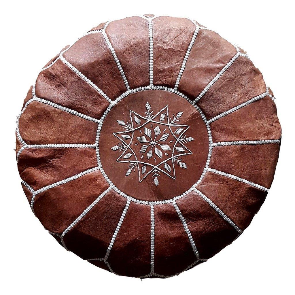 Cliquez ici pour acheter Desert tan Moroccan leather pouf